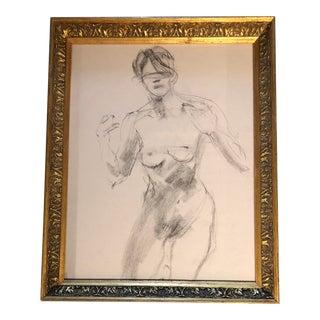 Original Vintage Female Nude Study Charcoal Sketch For Sale