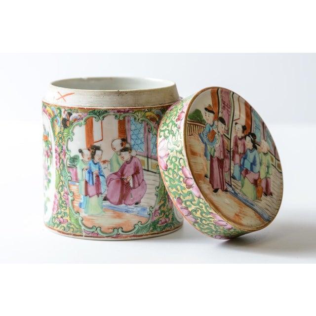 Lovely, Rose medallion covered jar