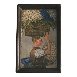Antique Wood Tray W/ Painted Portrait For Sale