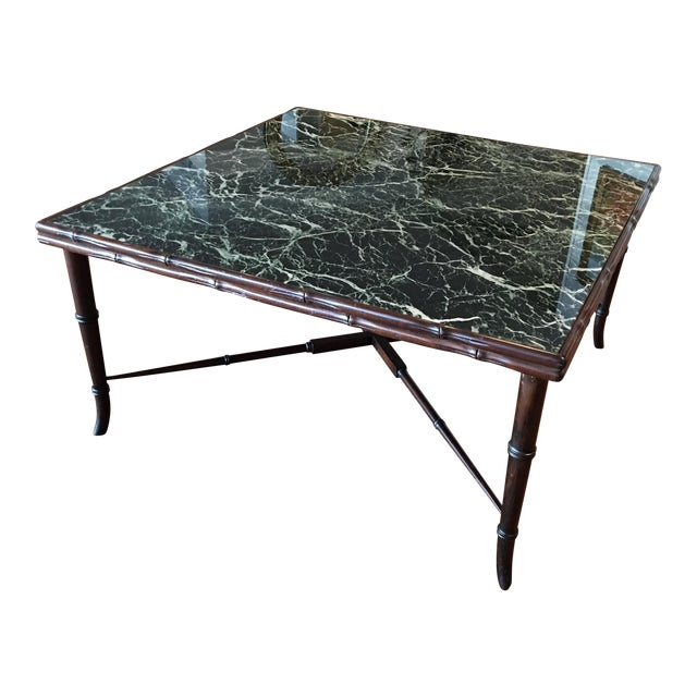 Mid-Century Regency Faux Bamboo Marbled Table - Image 1 of 8
