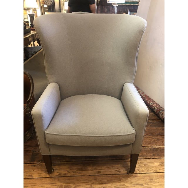Wood Flannel Upholstered Barrel Back Wing Chairs by Baker -A Pair For Sale - Image 7 of 13