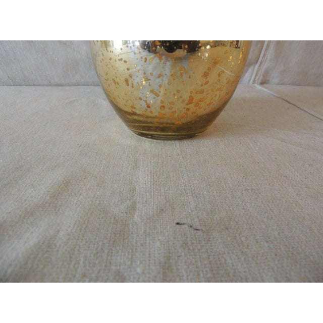 Vintage Gold Speckle Mercury Glass Vase With Organic Shape For Sale - Image 4 of 5