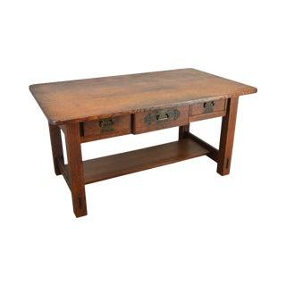 Stickley Brothers Antique Mission Art & Crafts Oak Library Table Desk For Sale