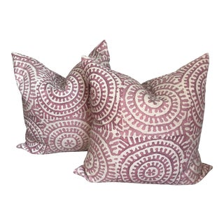 Contemporary Plum and Cream Linen Pillow Covers - A Pair For Sale