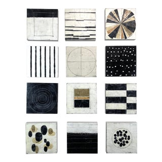 "Encaustic Collage Installation by Gina Cochran ""Frequency"" - Set of Twelve 12""x12"" Panels For Sale"