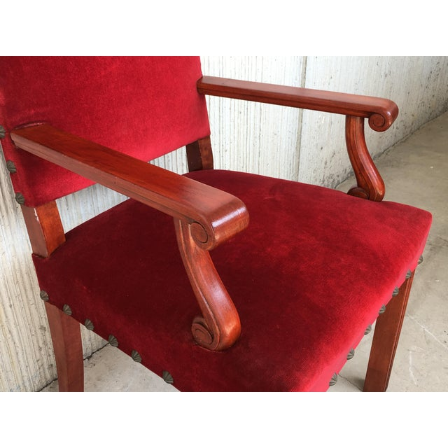 19th Century Spanish Revival High Back Armchair With Red Velvet Upholstery For Sale In Miami - Image 6 of 13