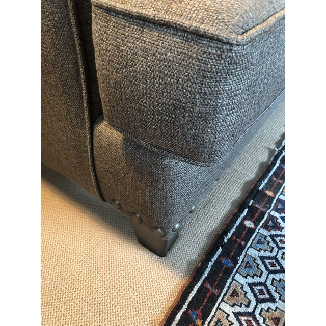 Textile Upholstered Custom Loveseat Sofa With Large Brass Nailheads For Sale - Image 7 of 9