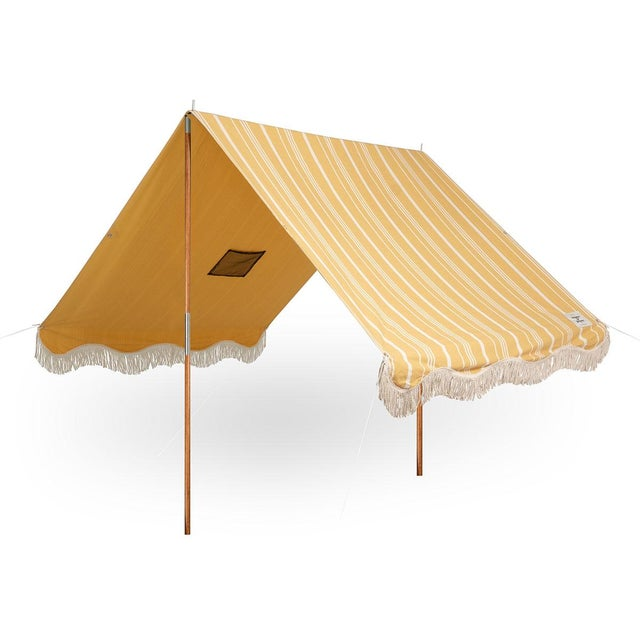 Business & Pleasure Premium Beach Tent - Vintage Yellow Stripe with Fringe For Sale - Image 4 of 4