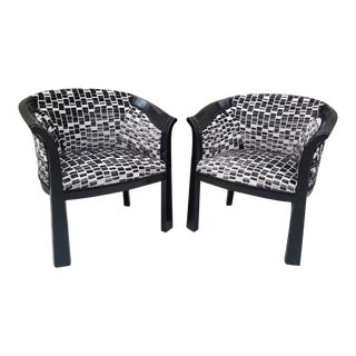 Hollywood Regency Interior Crafts Ebonized Barrel Back Chairs Newly Upholstered - Pair For Sale