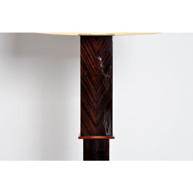 Veneer Contemporary Step Base Walnut Veneer Floor Lamps - a Pair For Sale - Image 7 of 11