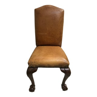 Late 20th Century Ralph Lauren Leather Claw Foot Side Chair For Sale