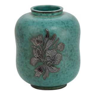 1940s Aqua Gustavsberg Argenta Vase For Sale