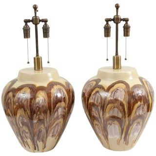 1960s Extra Large Ceramic Lamps - a Pair For Sale