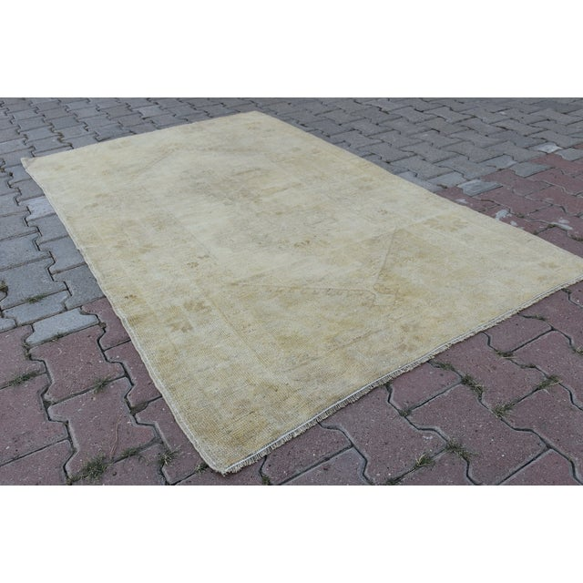 Distressed Turkish Handmade Vintage Beige Rug -3′8″ × 6′1″ - Image 6 of 8