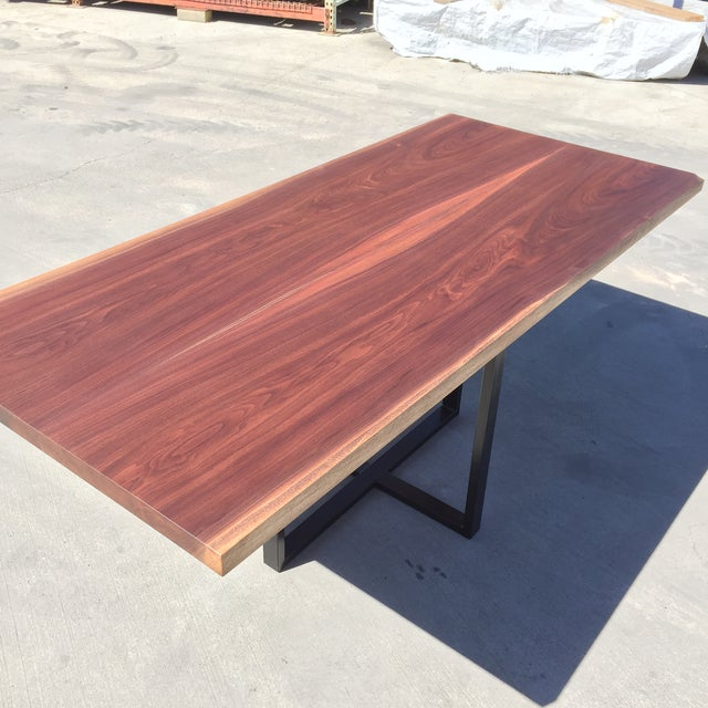 Contemporary Hardwood Table & Cube Base - Image 4 of 6