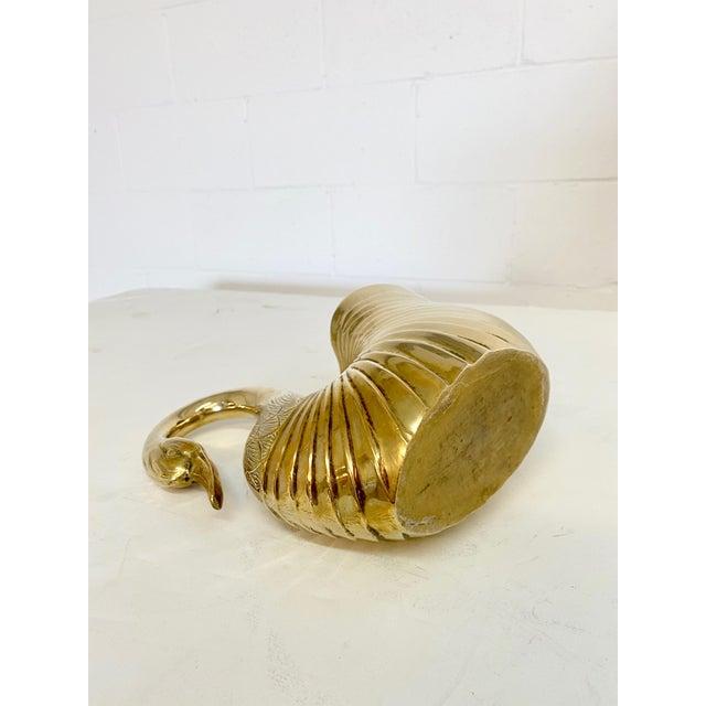 Hollywood Regency Vintage Solid Brass Swan Planter or Pitcher For Sale - Image 3 of 5
