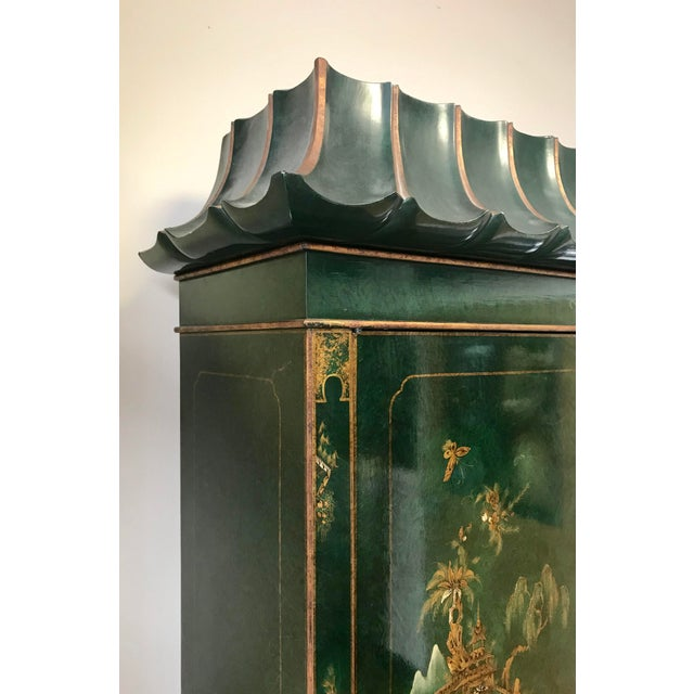 Asian Chinoiserie Green Lacquer Secretary Desk China Display Cabinet For Sale - Image 3 of 13