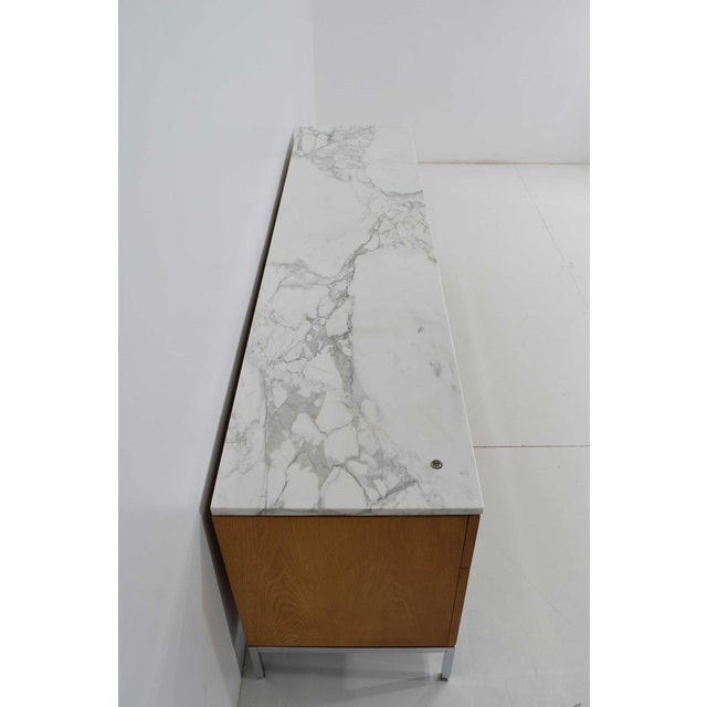 Florence Knoll Credenza in White Oak and Calacutta Marble For Sale - Image 9 of 10