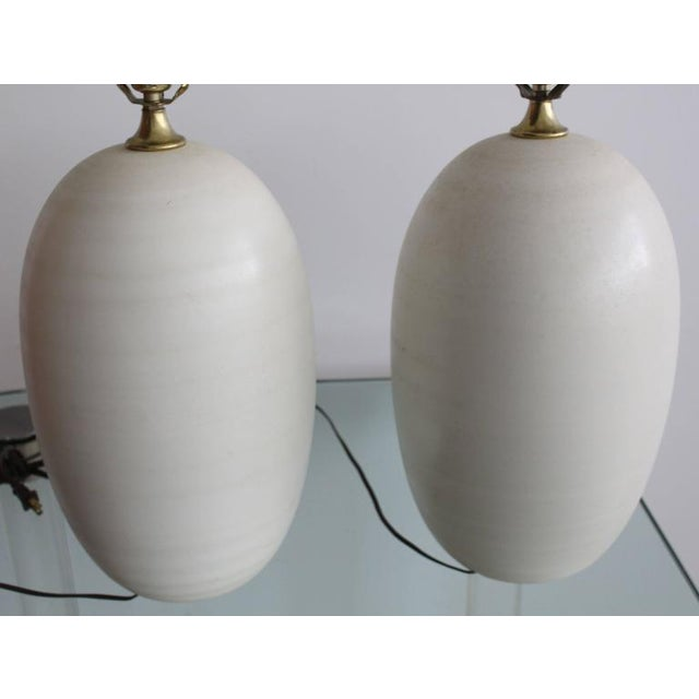 Pair of Egg Shape Ceramic Table Lamps For Sale - Image 4 of 5
