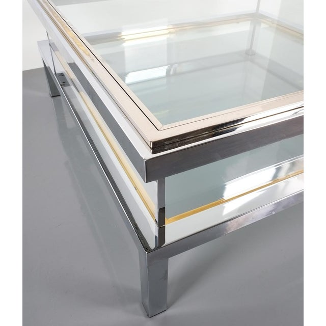 Refurbished Large Maison Jansen Brass and Chrome Vitrine Coffee Table, 1970 For Sale - Image 10 of 12