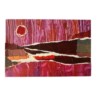 """Final Price! Nancy Smith """"Land of the Red Sun"""" Original Collage For Sale"""