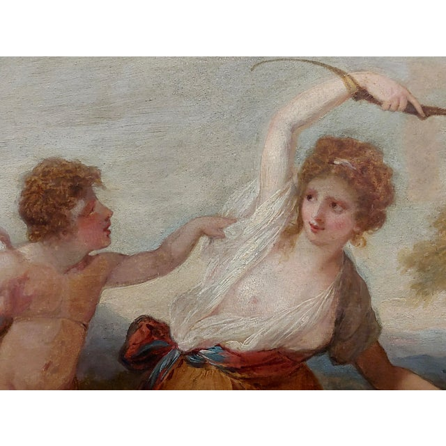 "18th Century 18th Century Neoclassical ""Cupid & Goddess"" Oil Painting For Sale - Image 5 of 9"