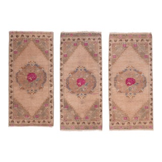 Set of 3 Muted Color Turkish Small Area Rugs For Sale