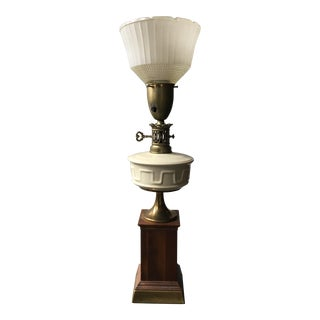 Mid-Century National Wood & Ceramic Lamp For Sale
