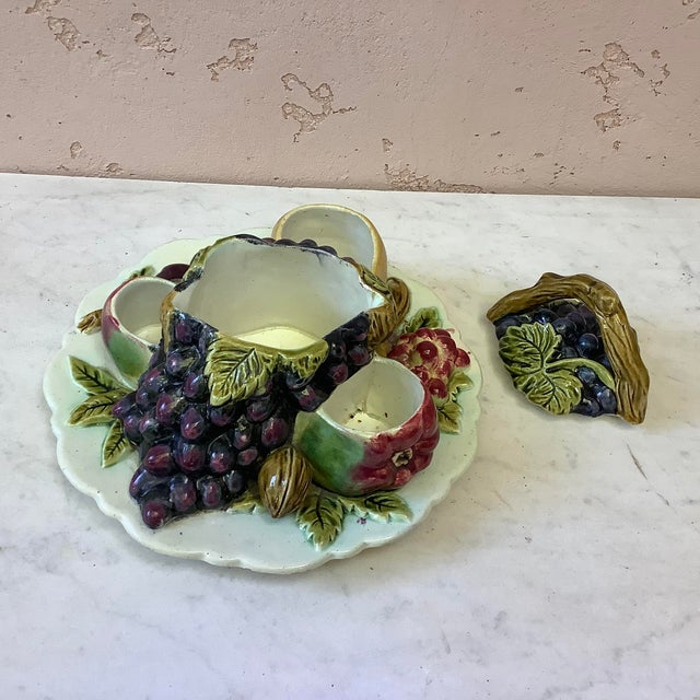 Late 19th Century Antique French Majolica Fruits Trompe l'Oeil Server Circa 1880 For Sale - Image 5 of 11