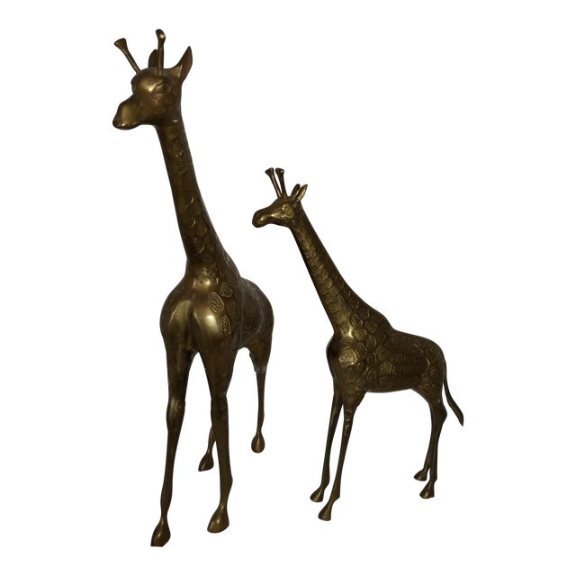 22 Inch 1960's Mid Century Brass Giraffe and Baby - a Pair For Sale