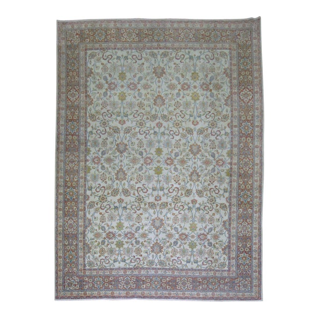 Shabby Chic Ivory Antique Rug, 8'5'' X 11'5'' For Sale