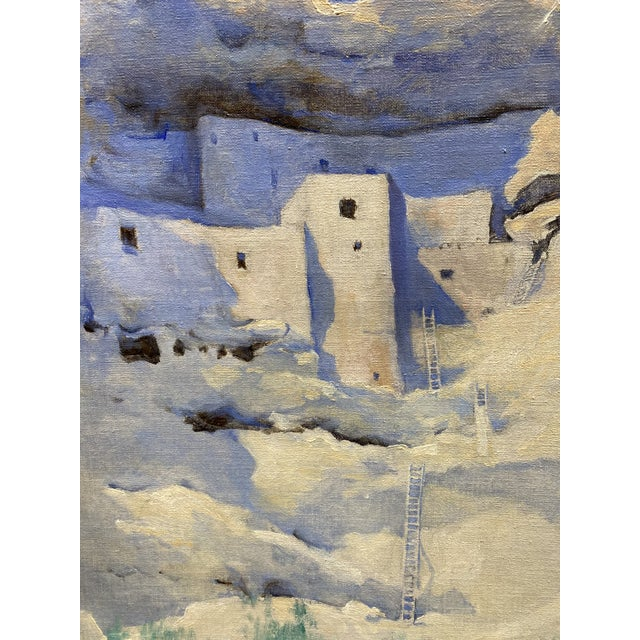 An oil painting on board depicting Montezuma's Castle, by the Boston artist Marion Boyd Allen in 1934 when she traveled...