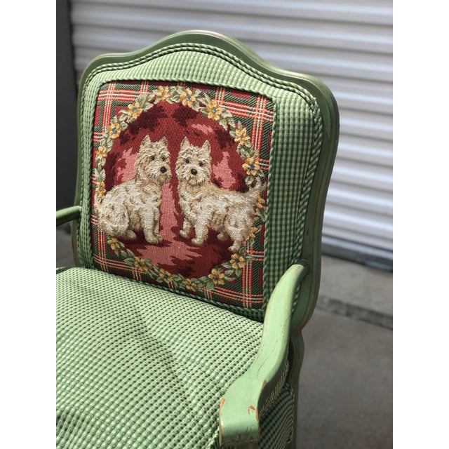Textile Late 20th Century Antique French Gingham Fabric & Dog Detailing Chair For Sale - Image 7 of 9