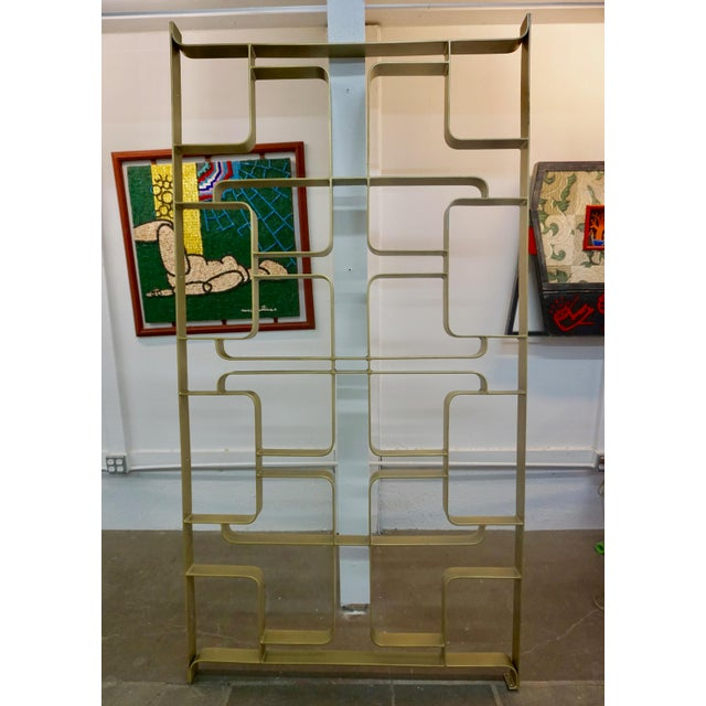 1960s Gold Tone Solid Steel Room Divider For Sale - Image 4 of 5