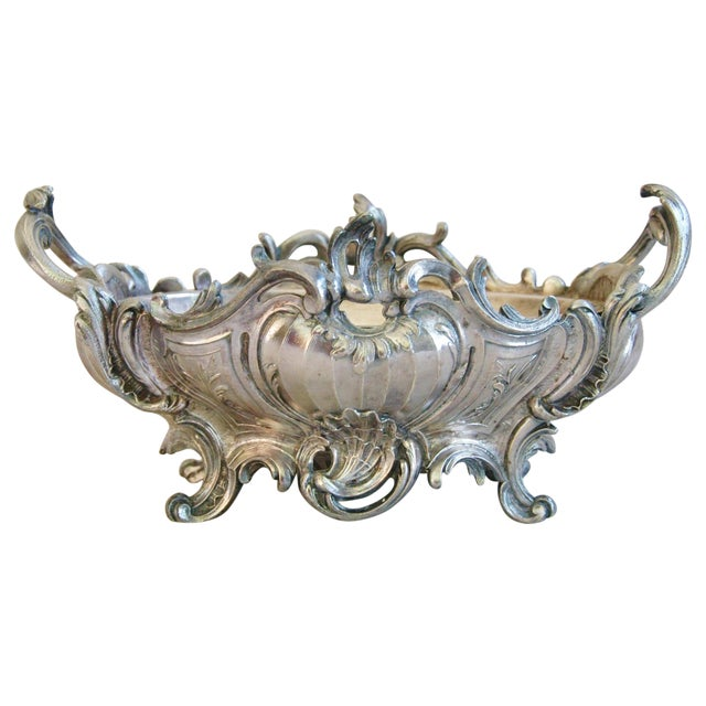 1950s Ornate French Silverplate Jardinière Planter - Image 1 of 11