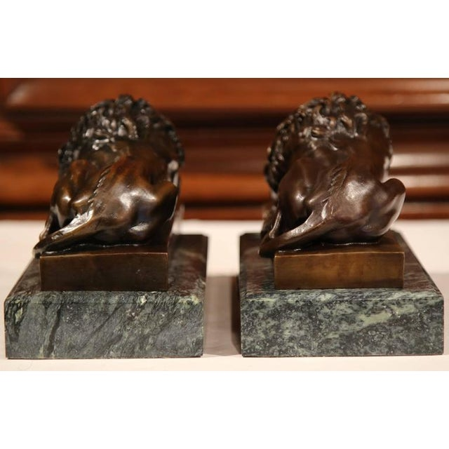 19th Century French Bronze Lions on Marble Bases Signed J. Moigniez - a Pair - Image 4 of 10