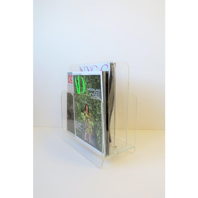 Acrylic Clear Acrylic Magazine Holder, Circa 1976 For Sale - Image 7 of 13