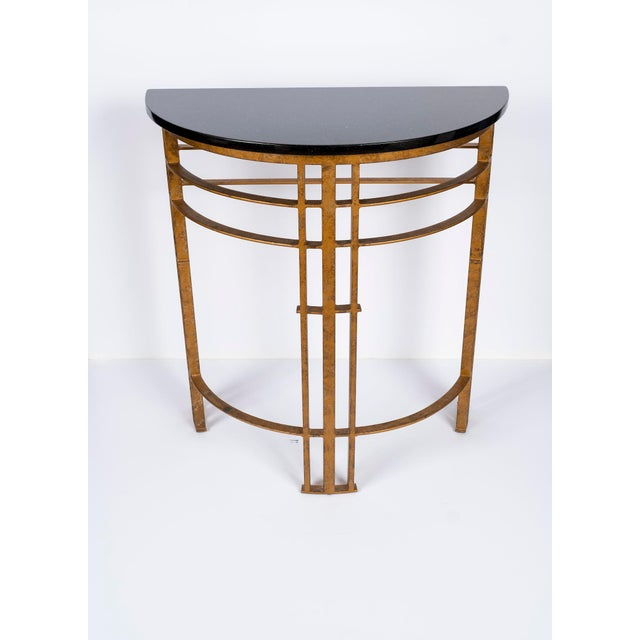 Contemporary 20th Century Art Deco Gilt Iron and Granite Demi Lune Consoles - a Pair For Sale - Image 3 of 10