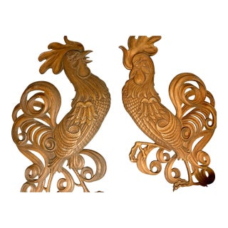 Mid 20th Century Cast Metal Roosters Vintage - a Pair For Sale