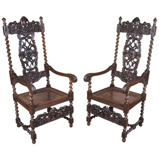 Antique Figural Carved Mahogany Throne Chairs- A Pair For Sale
