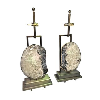 Modern Large Precious Agate Slice Crystal Stone Brass Table Lamps - a Pair For Sale