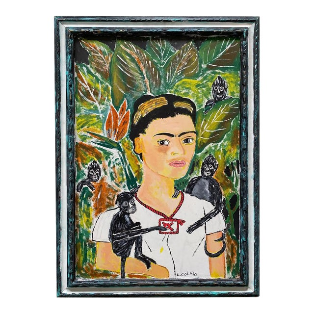 1970s Portrait Painting of Frida Kahlo with Monkeys Signed E. Colato, Framed For Sale