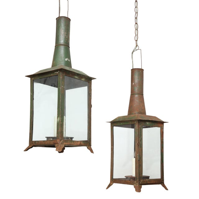 Two French Tôle Lanterns For Sale - Image 10 of 10