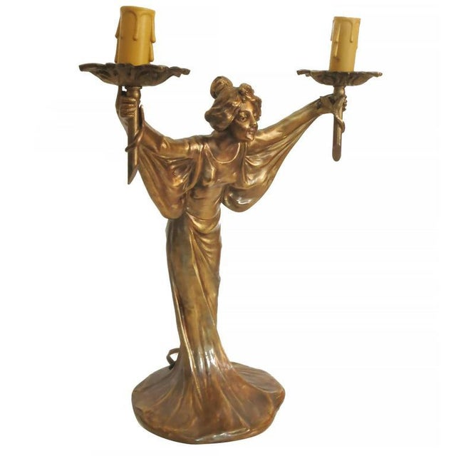 Pair of Bronze Art Nouveau Style Figural Female Candelabra Lamp For Sale - Image 4 of 9