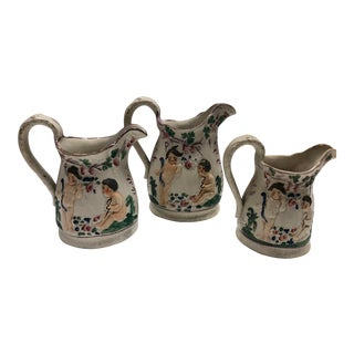 English Staffordshire Pitchers - Set of 3 For Sale