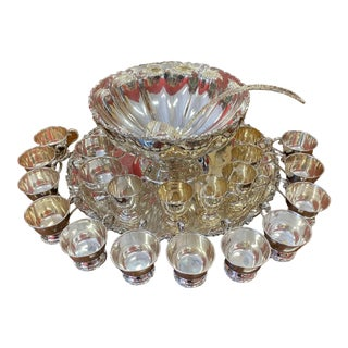 Vintage Sterling Silver Punch Bowl Set- 23 Pieces For Sale