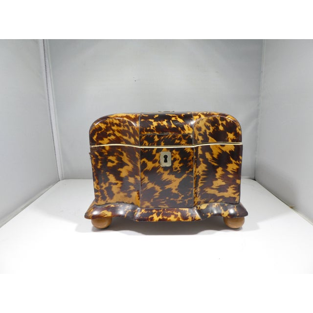 19th Century Tortoise Shell Tea Caddy sold as found in vintage condition with one small chip to front corner showing...