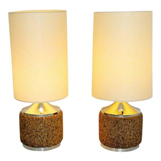 Mid Century Modern Pair of Cork Chrome Table Lamps Orig Shade Brass Finial 1960s For Sale