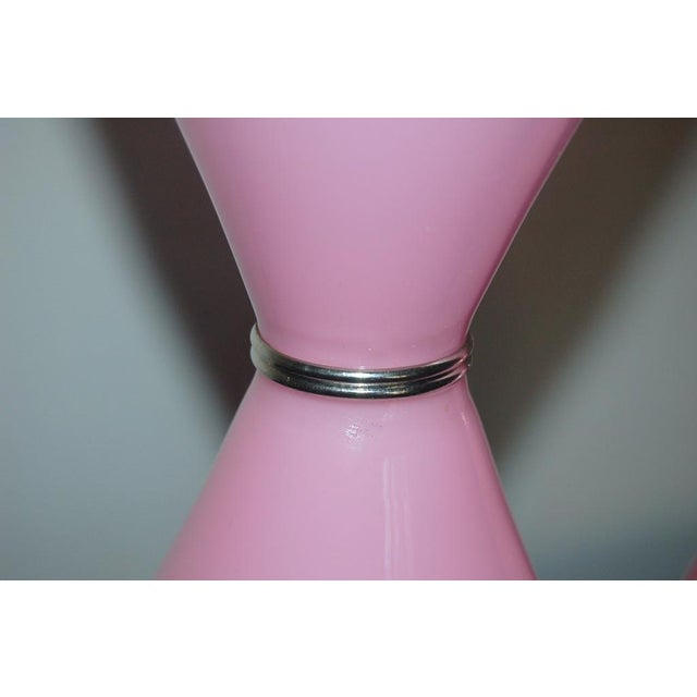 Glass Vintage Murano Opaline Glass Table Lamps Pink For Sale - Image 7 of 10