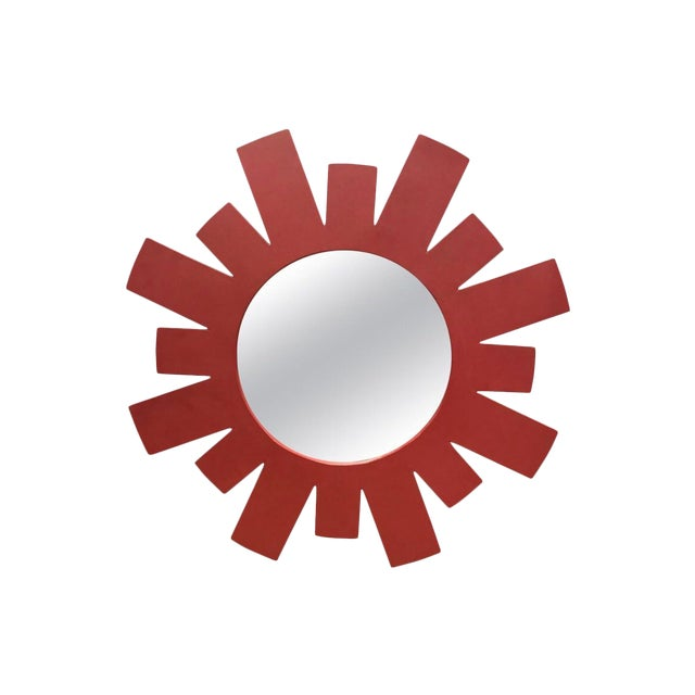 Architectural Midcentury Large Red Geometric Starburst Wall Mirror For Sale